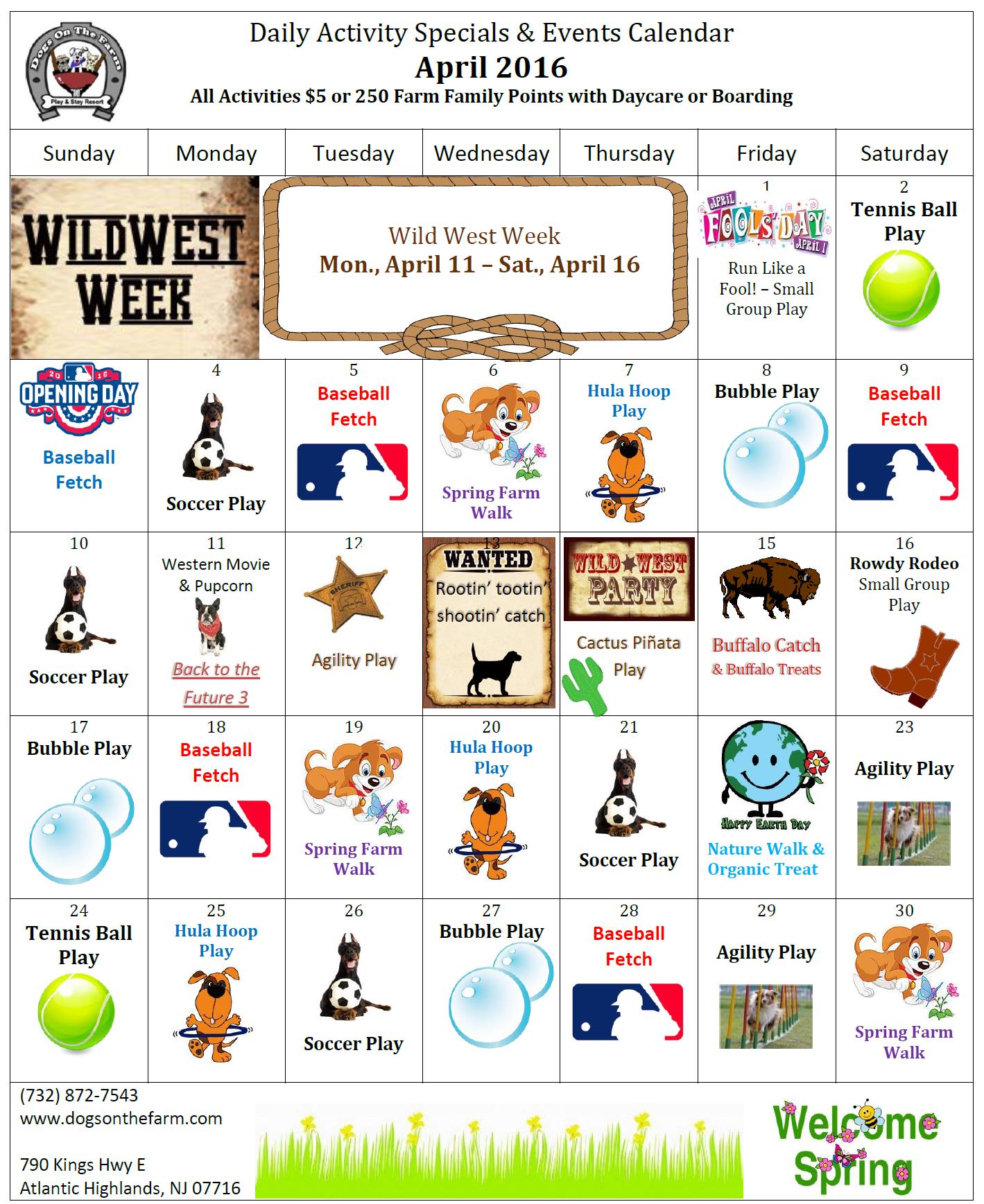 April 2016 Calendar of events