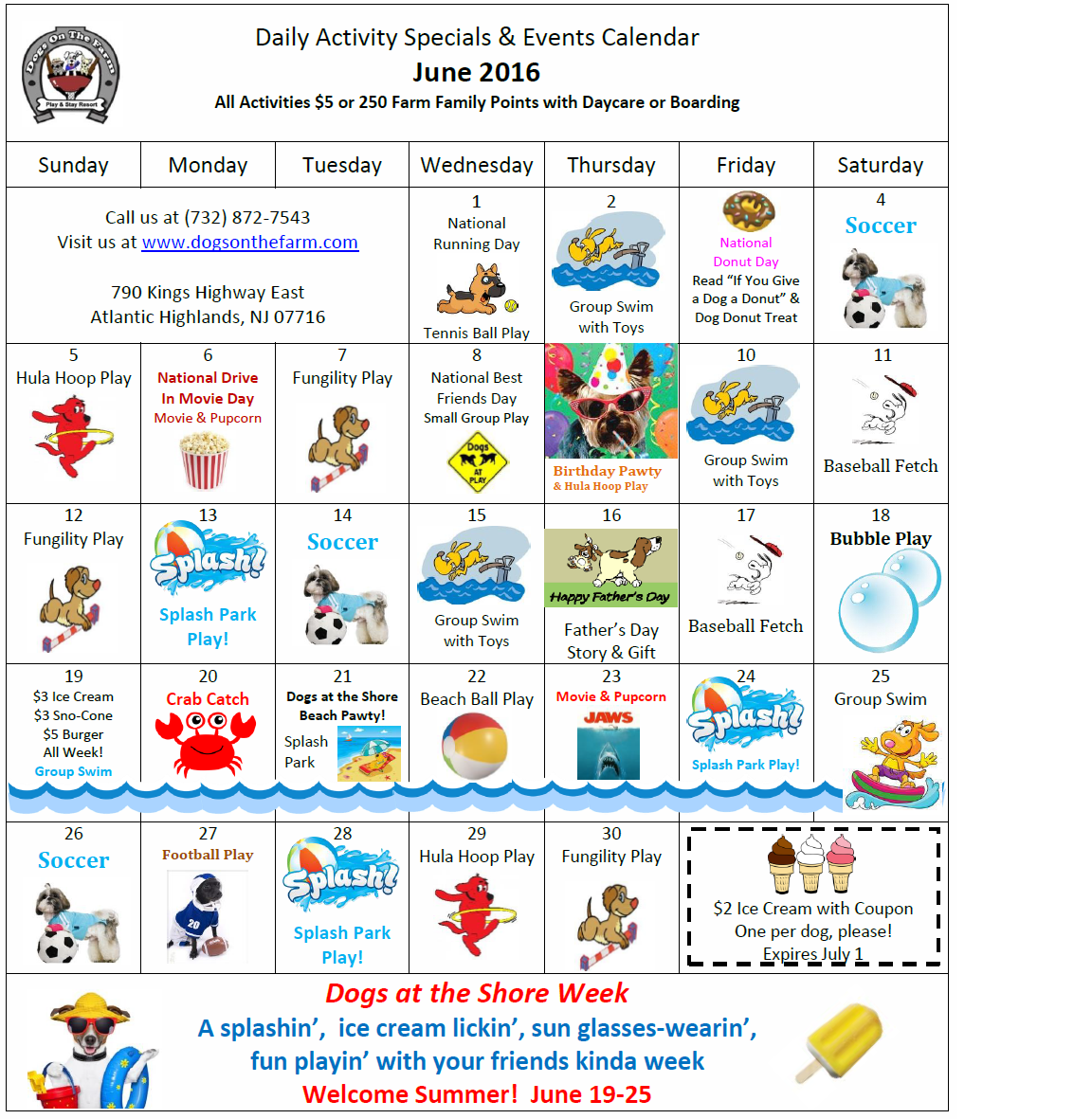 June Calendar Events : June calendar of activities events dogs on the farm